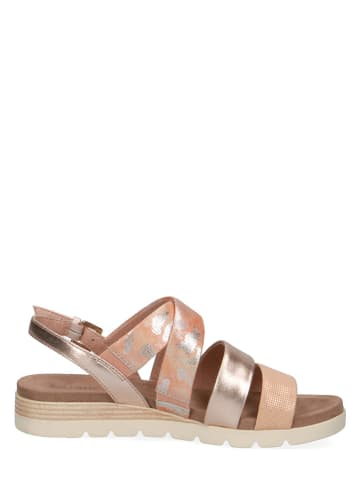 """Caprice Skórzane sandały """"Gipsy"""" w kolorze srebrno-jasnoróżowym"""