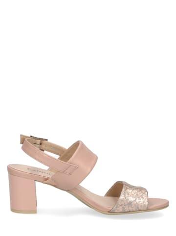 """Caprice Skórzane sandały """"Edison"""" w kolorze jasnoróżowym"""