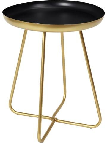 Rétro Chic Beistelltisch in Schwarz/ Gold - (H)45,5 x Ø 40 cm