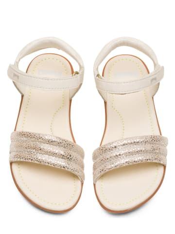 """Camper Skórzane sandały """"Right"""" w kolorze biało-srebrnym"""