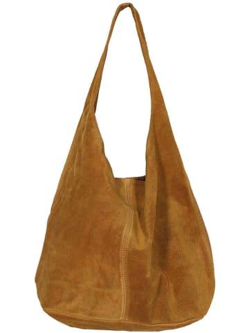 """Zwillingsherz Skórzany shopper bag """"Lena"""" w kolorze jasnobrązowym - 32 x 42,5 x 4 cm"""