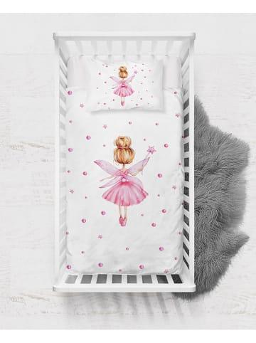 """Pandora Trade Komplet pościeli satynowej """"Fairy with Wings"""" w kolorze biało-jasnoróżowym"""