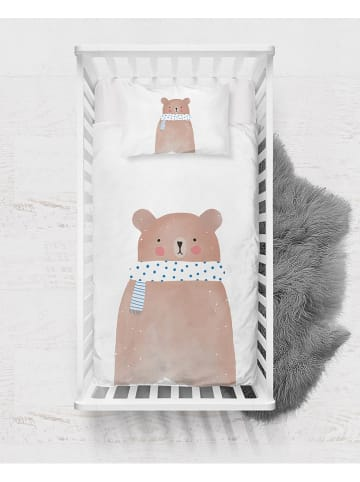 "Pandora Trade Satijnen beddengoedset ""Watercolor Bear"" lichtbruin/wit"