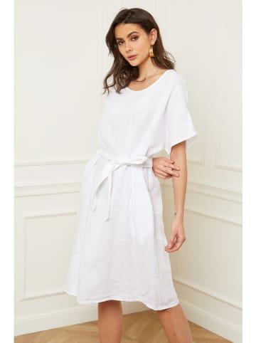 "Fleur de Lin Leinen-Kleid ""Cecilia"" in Weiß"