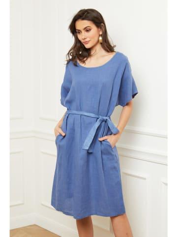 "Fleur de Lin Leinen-Kleid ""Cecilia"" in Blau"