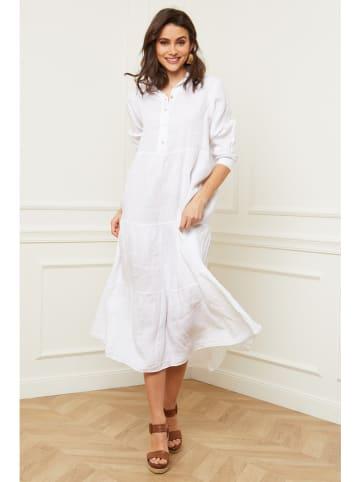 """Fleur de Lin Leinen-Kleid """"Isador"""" in Weiß"""