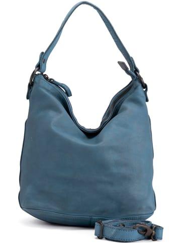 Neropantera Leder-Schultertasche in Blau - (B)26 x (H)28 x (T)17 cm