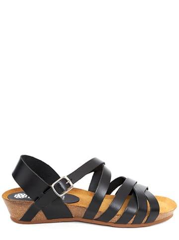 Abril Flowers Skórzane sandały w kolorze czarnym