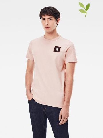 """G-Star Koszulka """"Badge Logo"""" w kolorze jasnoróżowym"""