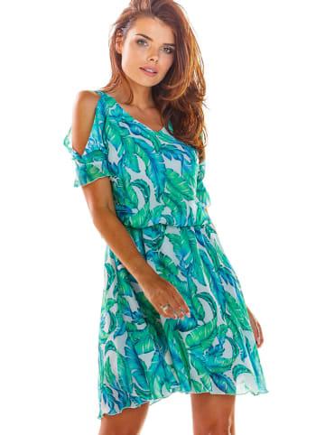 Awama Sukienka w kolorze zielonym ze wzorem