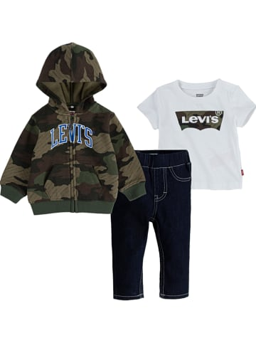 Levi's Kids 3tlg. Outfit in Khaki/ Weiß/ Dunkelblau