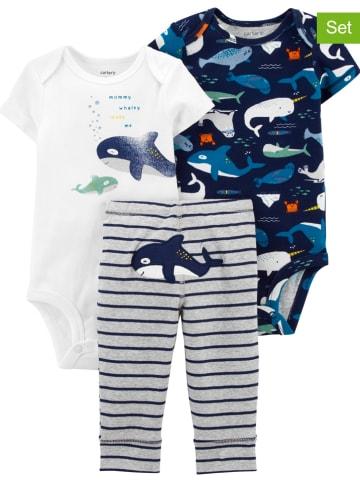 Carter's 3-delige set: rompers en broek donkerblauw/grijs/wit