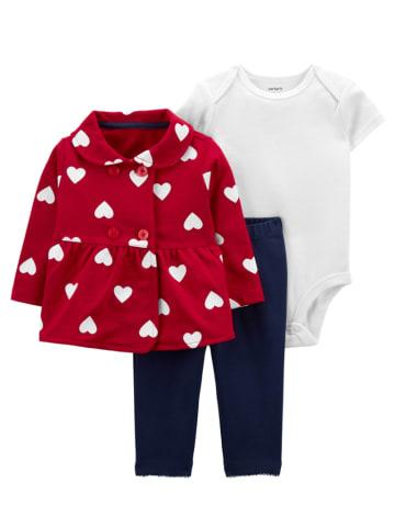 Carter's 3-delige set: romper, vest en broek rood/donkerblauw/wit