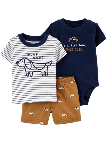 Carter's 3-delige outfit donkerblauw/bruin