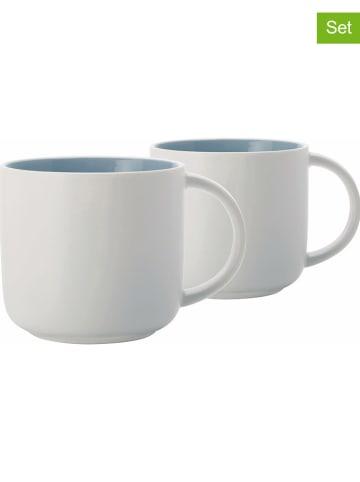 """Maxwell & Williams 2-delige set: mokken """"Tint"""" wit/lichtblauw - 450 ml"""