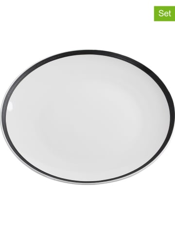"Maxwell & Williams 6-delige set: dinerborden ""Charlton"" wit/zwart - Ø 27 cm"