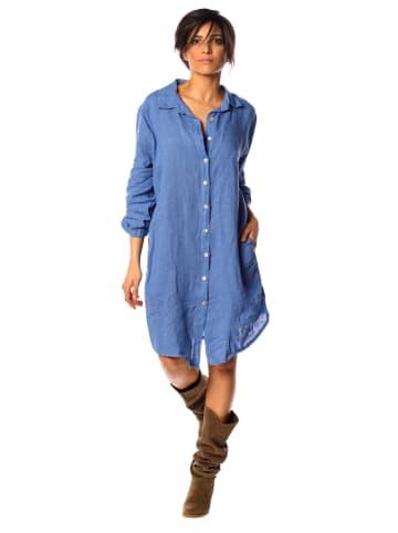 """La Fabrique du Jean Linnen jurk """"Val"""" blauw"""