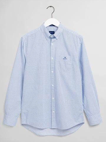 Gant Blouse - regular fit - lichtblauw/wit