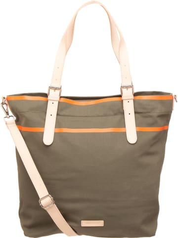 "FREDs BRUDER Shopper ""Canny"" in Khaki/ Orange - (B)46 x (H)39 x (T)13 cm"