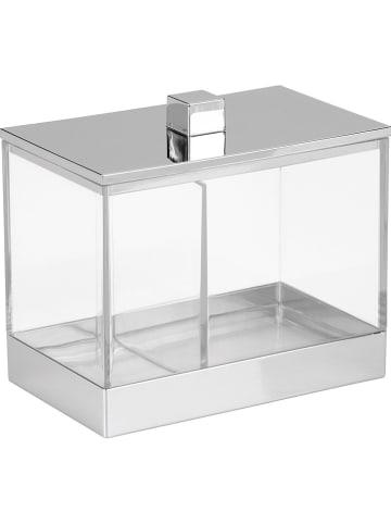"Idesign Opbergbox ""Clarity"" zilverkleuirg/transparant - (L)13 x (B)10 x (H)7,5 cm"