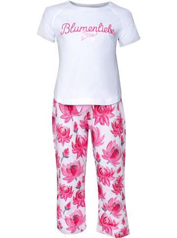 Louis & Louisa Pyjama in Weiß/ Pink