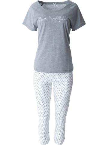 Louis & Louisa Pyjama in Grau/ Weiß