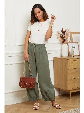 Le Monde du Lin Lniane spodnie w kolorze khaki