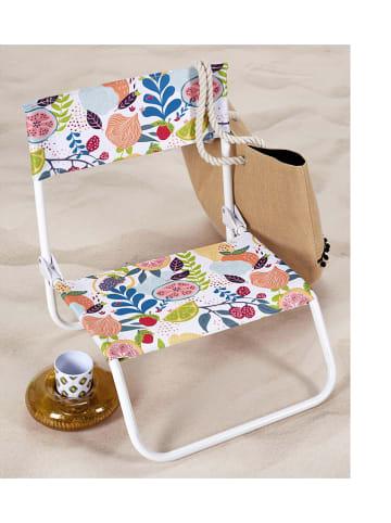 """Garden Spirit Składane krzesło """"Chaise"""" w kolorze białym ze wzorem - 52 x 37 x 50,5 cm"""