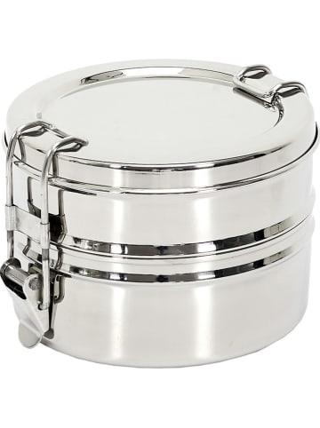 COOK CONCEPT Dwupoziomowe pudełko na lunch w kolorze srebrnym - 10,2 x 10,2 cm