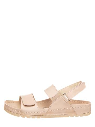 MUBB Skórzane sandały w kolorze beżowym