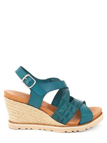 Mia Loé Leren sleehaksandalen turquoise