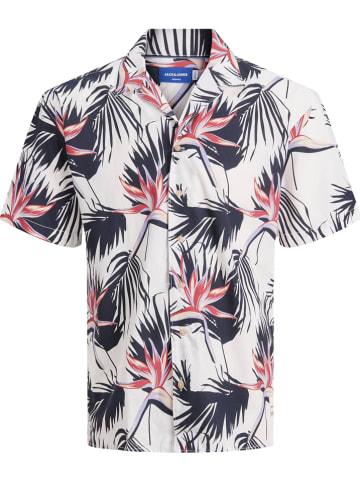 """Jack & Jones Koszula """"FLORAL"""" - Relaxed fit - w kolorze biało-granatowo-czerwonym"""