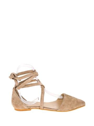 Lizza Shoes Leren ballerina's beige