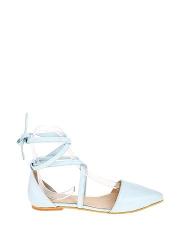 Lizza Shoes Leren ballerina's lichtblauw