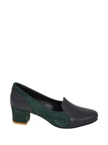 Lizza Shoes Leren pumps antraciet/groen