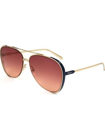 Salvatore Ferragamo Damskie okulary przeciwsłoneczne w kolorze brązowo-złotym