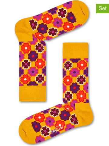 "Happy Socks 2-delige set: sokken ""Flower"" geel/paars"