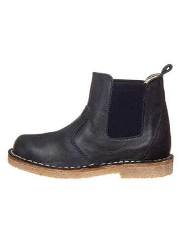 POM POM Leder-Chelsea-Boots in Dunkelblau