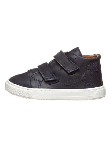 POM POM Leder-Sneakers in Dunkelblau