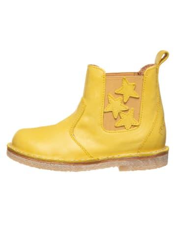 POM POM Skórzane sztyblety w kolorze żółtym