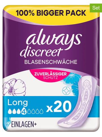 """Always discreet 3er-Set: Inkontinenz-Einlagen """"Long Blasenschwäche"""", je 20 Stück"""