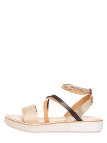 Michela Leren sandalen champagnekleurig
