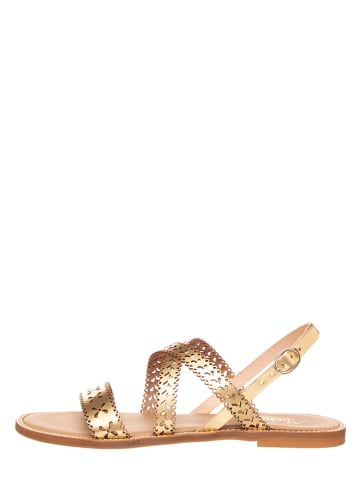 Michela Skórzane sandały w kolorze złotym