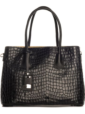 Lia Biassoni Leren handtas zwart - (B)40 x (H)33 x (D)16 cm