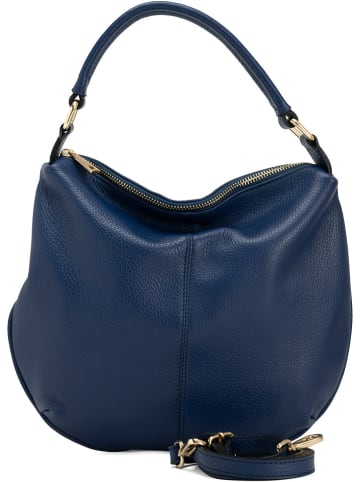Lia Biassoni Leren handtas donkerblauw - (B)33 x (H)27 x (D)4 cm