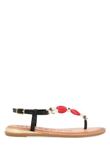 Gioseppo Leren teenslippers zwart/rood