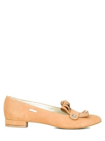 Zapato Leren ballerina's zandkleurig