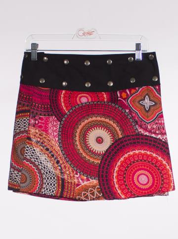 KÉAWA Dwustronna spódnica w kolorze fuksji ze wzorem
