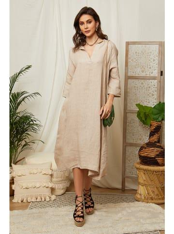 Lin Passion Lniana sukienka w kolorze beżowym
