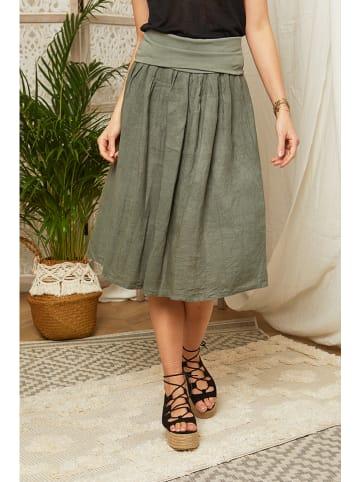 Lin Passion Lniana spódnica w kolorze khaki